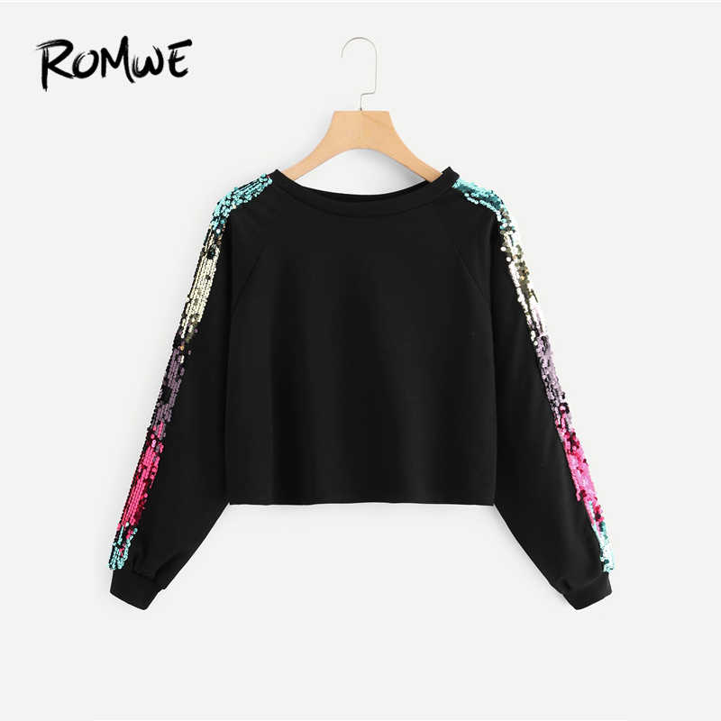 68c1b6784dc ... ROMWE Black Contrast Sequin Sweatshirt Women Casual Spring Autumn Long  Sleeve Round Neck New Clothing Pullovers ...