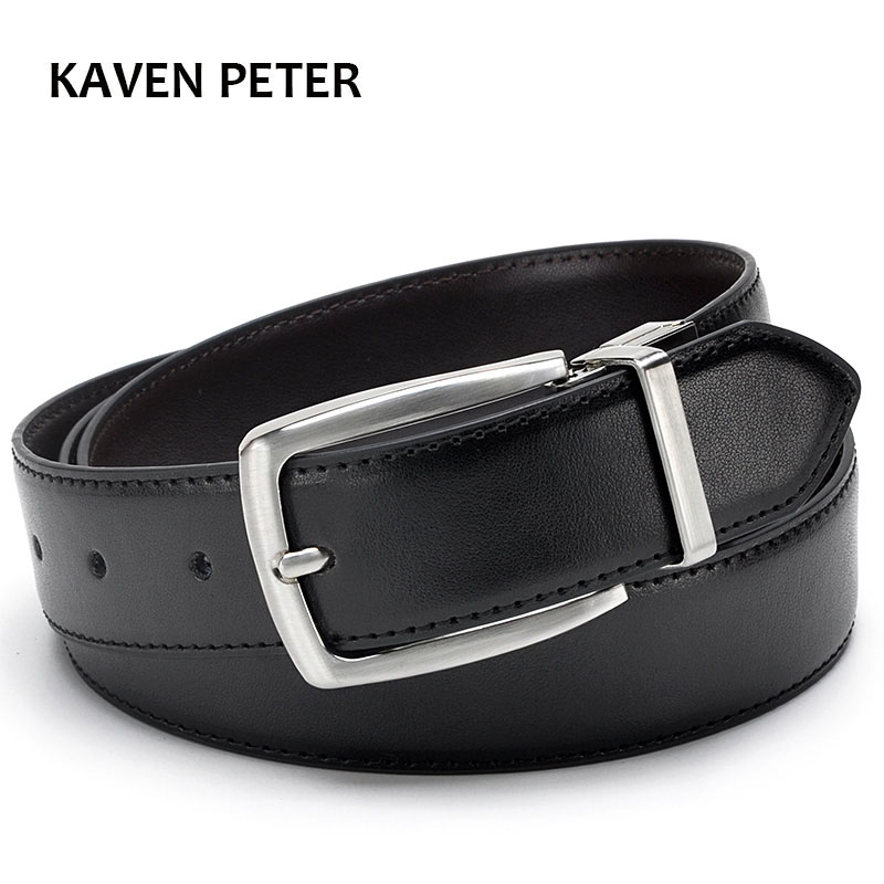 Belt Luxury Leather Belt Män Brand Real Leather 35mm Reversible Buckle Belt Svart Brun Designer Bälte För Män Hög Kvalitet