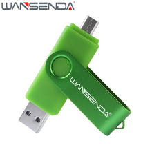 WANSENDA High Speed OTG USB Flash Drive Metal Pen Drive 32GB 64GB 128GB Pendrive 8GB 16GB USB Stick Flash Drive External Storage