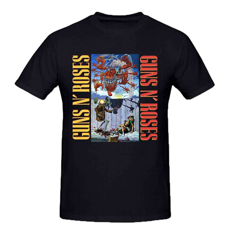 Classic Logo Novelty Short Sleeve Tees For Men Guns N Roses Appetite For Destruction Men Tee Shirts