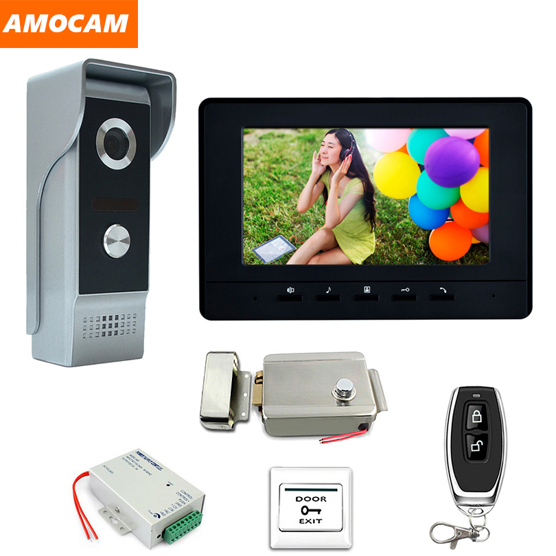 7 Monitor Wired Video Intercom System Kit Aluminium alloy Camera Video Doorbell Monitor Electronic Lock Remote