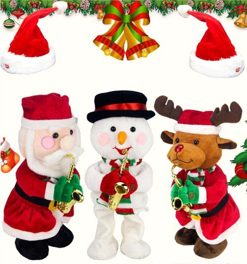 Enfants Mignon En Peluche Jouet De Noël électrique Père Noël Danse Poupées Avec Des Jouets Sonores Joyeux Noël Décoration Anniversaire En Peluche Jouets Cadeaux