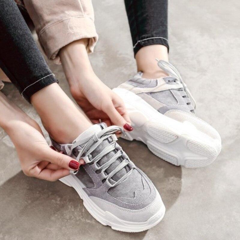 Women Casual Shoes 2019 Spring New Women Shoes Flats Platform Lace Up Fashion Breathable Women Sneakers Woman zapatos de mujer|Women's Vulcanize Shoes| |  - title=
