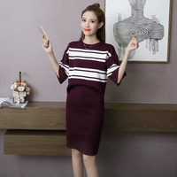 2017 Autumn New Casual Loose Striped Knitted Sweater Dress Outfit 2 Piece Set Women Long Sleeve