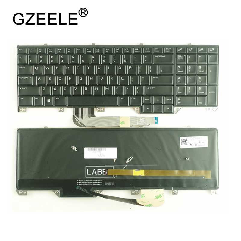 GZEELE New US laptop Keyboard For DELL Alienware M17 17 R4 R5 English black with Backlight Backlit PK131QB1A00 NSK-EE0BC 01 new and orginal english us black with backlit laptop keyboard for dell studio 15 1555 1557 1558