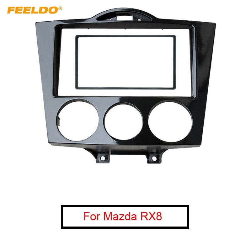 FEELDO 2DIN Black Car Audio Radio Fascia Frame For Mazda RX8 2003 2008 Stereo Plate Trim