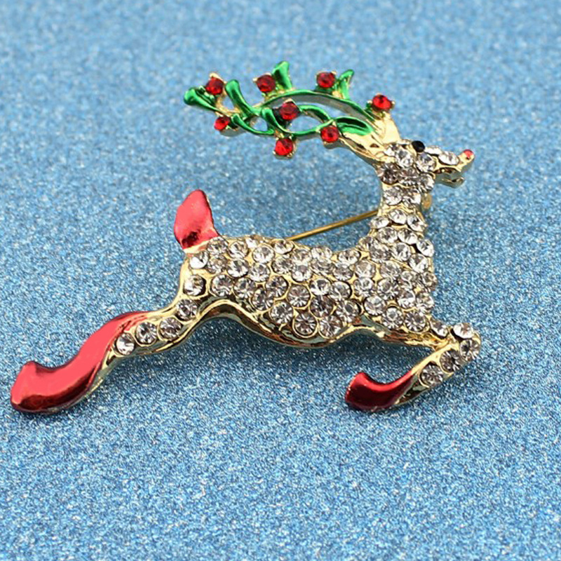 XIAOJINGLING Fashion Crystal Rhinestones Christmas Brooch Pins Gold Luxury  Deer bts Accessories Trendy Animal Brooches For Women-in Brooches from  Jewelry ... 465181c6d50d