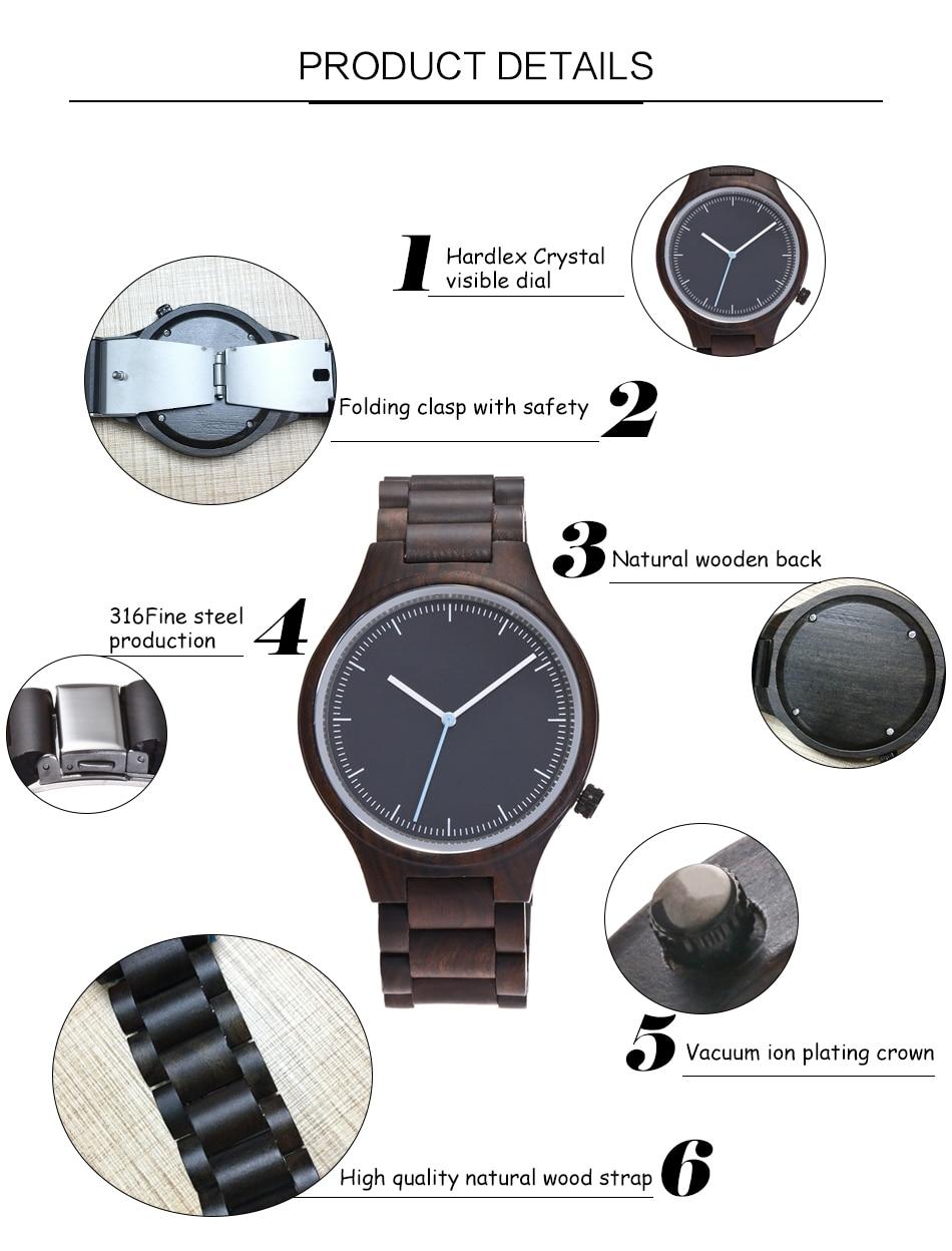 Wood watch men quartz pieces