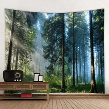 Forest Printed Large Wall Tapestry Hanging Bohemian Tapestries Beach Mat Polyester Blanket Picnic Tablecloth