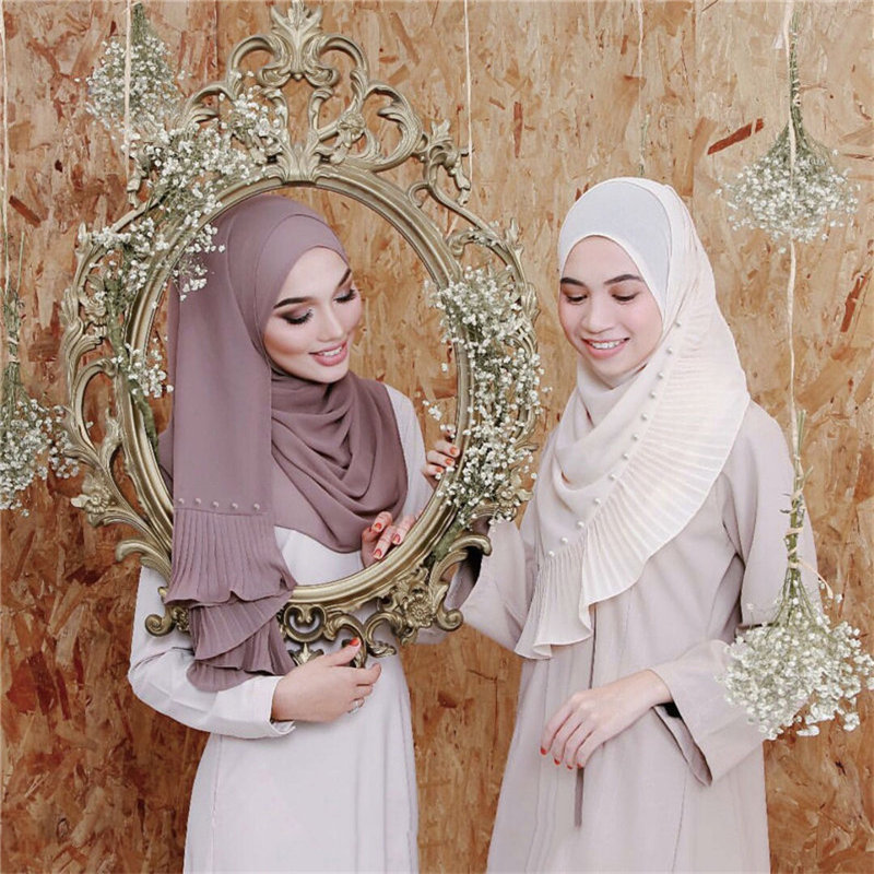 72*185cm à la mode en mousseline de soie perles écharpe pour dames musulman froissé hijab écharpe femme musulman foulard islamique châles tête écharpe