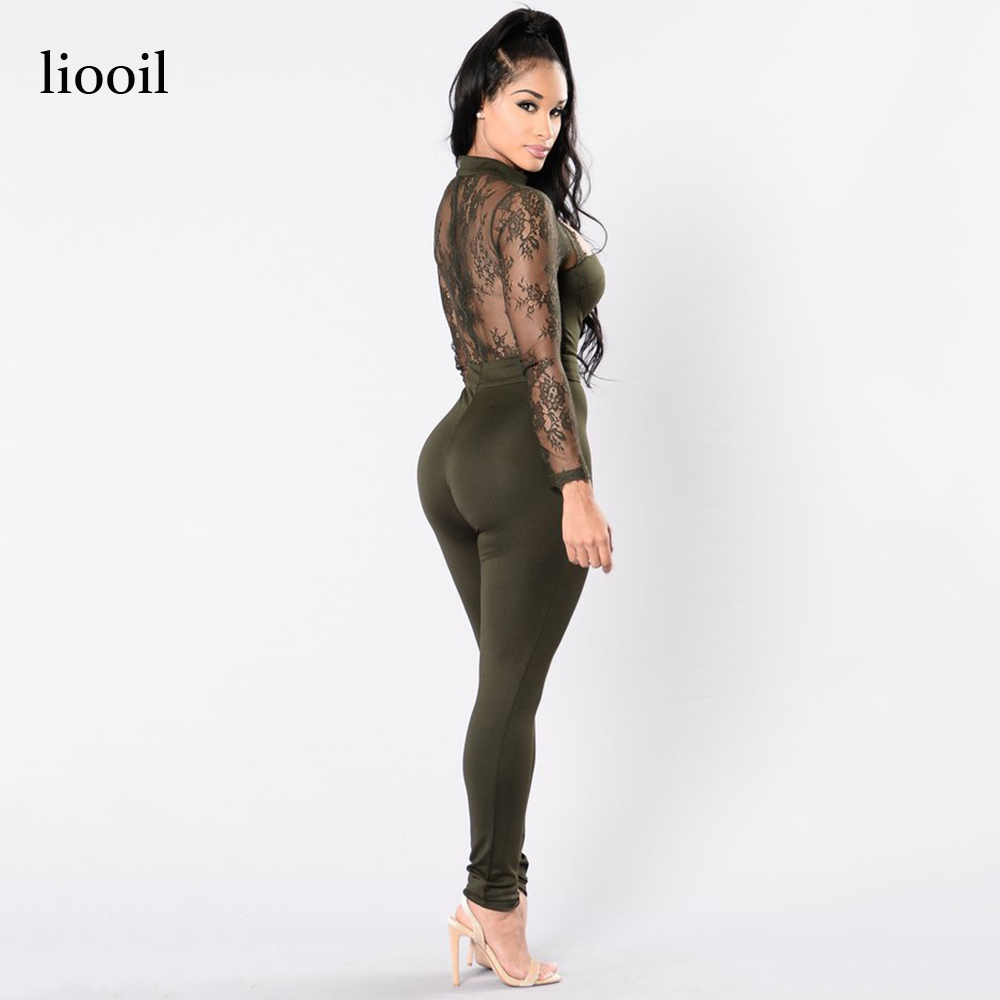 721de9a9281 Liooil Black Lace Patchwork Jumpsuit Sexy See Through Floral Embroidery Long  Sleeve Turtleneck Hollow Out Bodycon Women Rompers-in Jumpsuits from Women s  ...