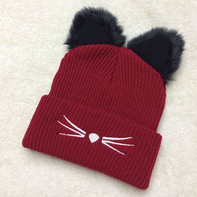 Winter Hat Woman Knitting Ladies Cat Ears Tot Skullies Fur Princess ... b592a076b719