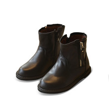 HOT autumn winter black shoes children genuine leather boots for baby girls mid calf boots boys