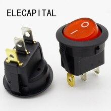 Interrupteur à bascule rond, SPST, allumage/extinction rouge, 10 pièces, 6a/250V, 10a/125V AC, Promotion