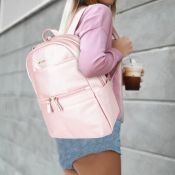 Women Laptop Backpack PU Leather Bags Girls 14 inch Laptop Backpack For Office Lady Students Waterproof Pink Bags