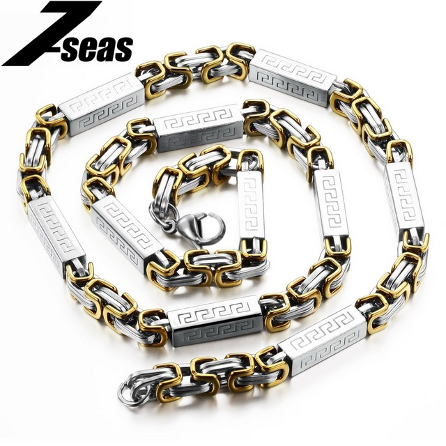 Cool Punk Men Long Chain Stainless Steel Necklace the Great Wall Texture 55CM Box Link Chain Men Necklaces Costume Jewelry,329