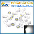 100pcs/lot anti ghosting #555 Hotselling AC 6.3V W5W 5050smd pinball game machine parts for pinball led fantasma lights