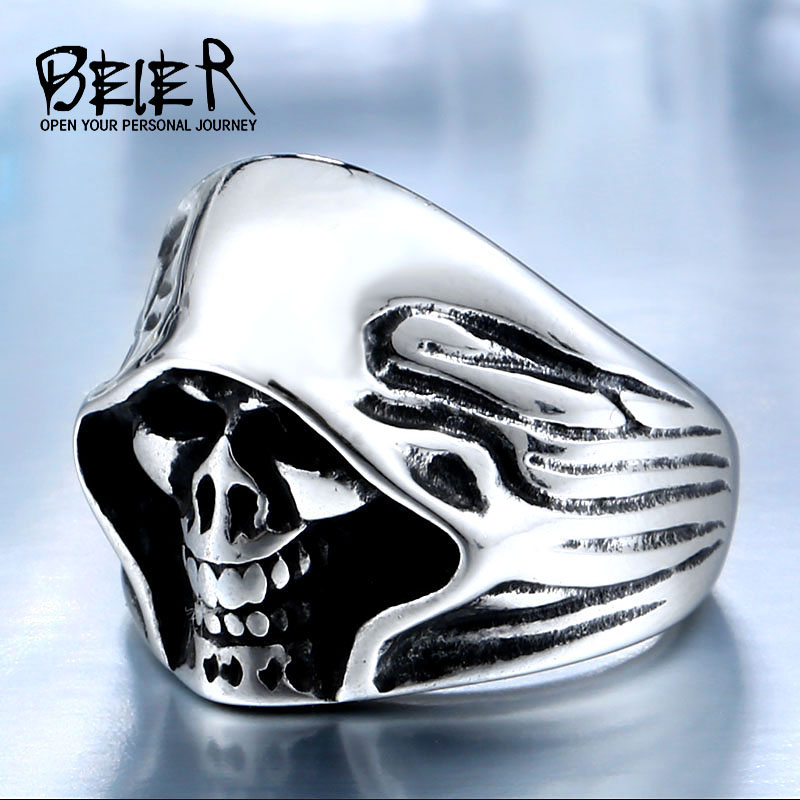BEIER Wholesale Cheap Cool Hell Death Skull Man Never Fade Punk Biker High ..