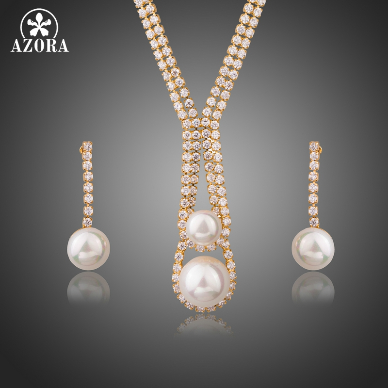 AZORA Clear Cubic Zirconia Simulated Pearl for Women Wedding Earrings and Necklace Jewelry Sets Gold Color Jewelry Gift TG0244 azora lotus rose gold color 1 pair stud earrings and 1pcs necklace fashionable jewelry set for women cute christmas gift tg0273