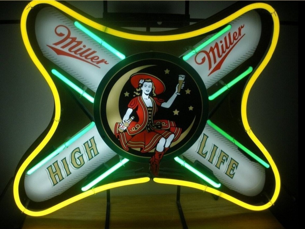 Custom Miller High Life Girl Glass Neon Light Sign Beer BarCustom Miller High Life Girl Glass Neon Light Sign Beer Bar