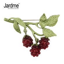 Jardme Fashion Raspberry Fruit Plant Brooches Vintage Garnet Enamel Scarves Buckle Wedding Party Gift for Women Collar Clip