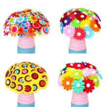 Creative Button Design Bouquet Kids DIY Handcraft Flower Toy Educational Buttons Threading Handmade Flowers Bough-pot Toy Gift