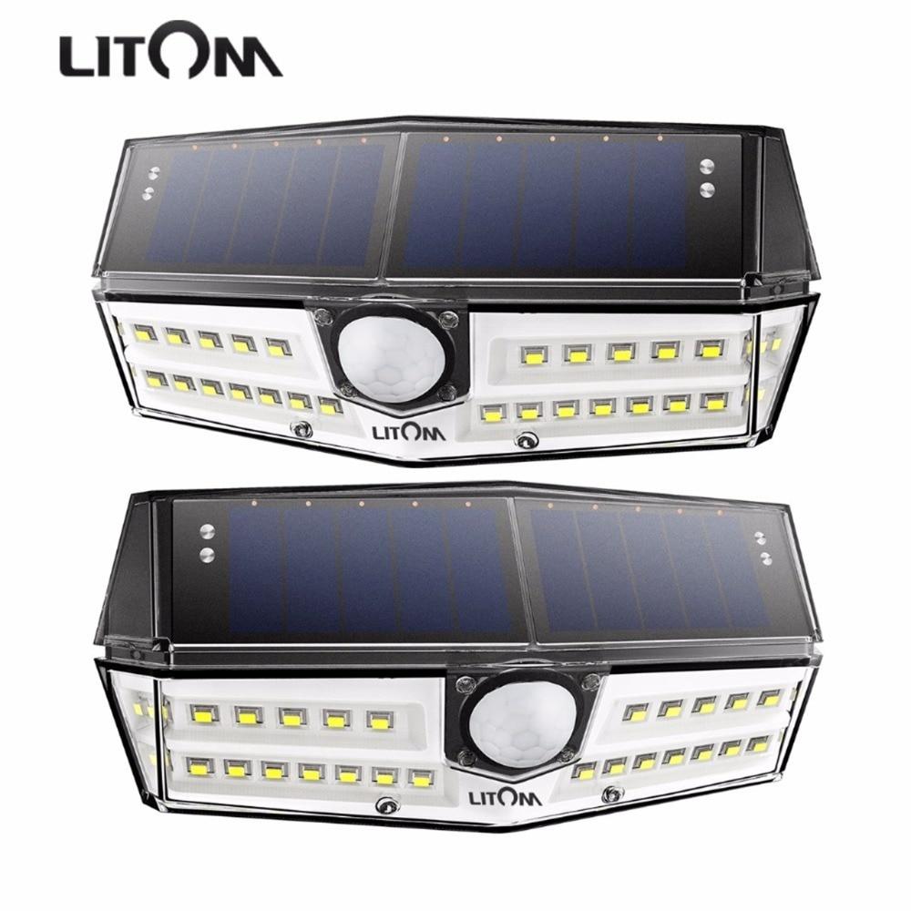 Außenbeleuchtung Hell Litom Upgrated Ip67 Wasserdichte Solar Lichter 30 Led Super Helle Solar Panel Wand Lampen Mit Breite Beleuchtung Palette/bewegung Senor