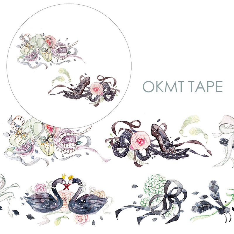 Swan Lake Washi Tape Diy Fita Decorativa Material Escolar Scrapbooking Washitape Papeleria круг надувной roxy kids flipper swan lake music лебединое озеро розовый