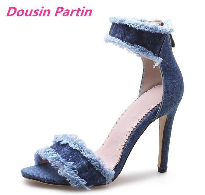Dousin Partin Women Shoes Women Sandals Denim Fashion Platform All Match Thin High Heel Round Toe