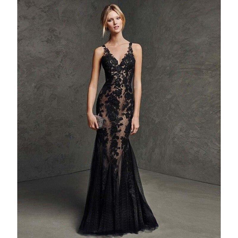 Мода русалка черный длинные вечерние платья 2016 В шеи аппликации кружева спинки женщины формальных мать Невесты Платье
