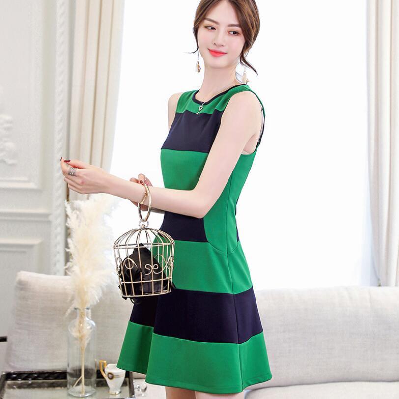 Style chinois solide sans manches femmes vêtements robes vertes pour l'été