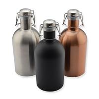 64OZ Stainless Steel Homebrew Beer Growler Cold Beer Bottle Large Flask Craft Beer Bottle Saver Flip