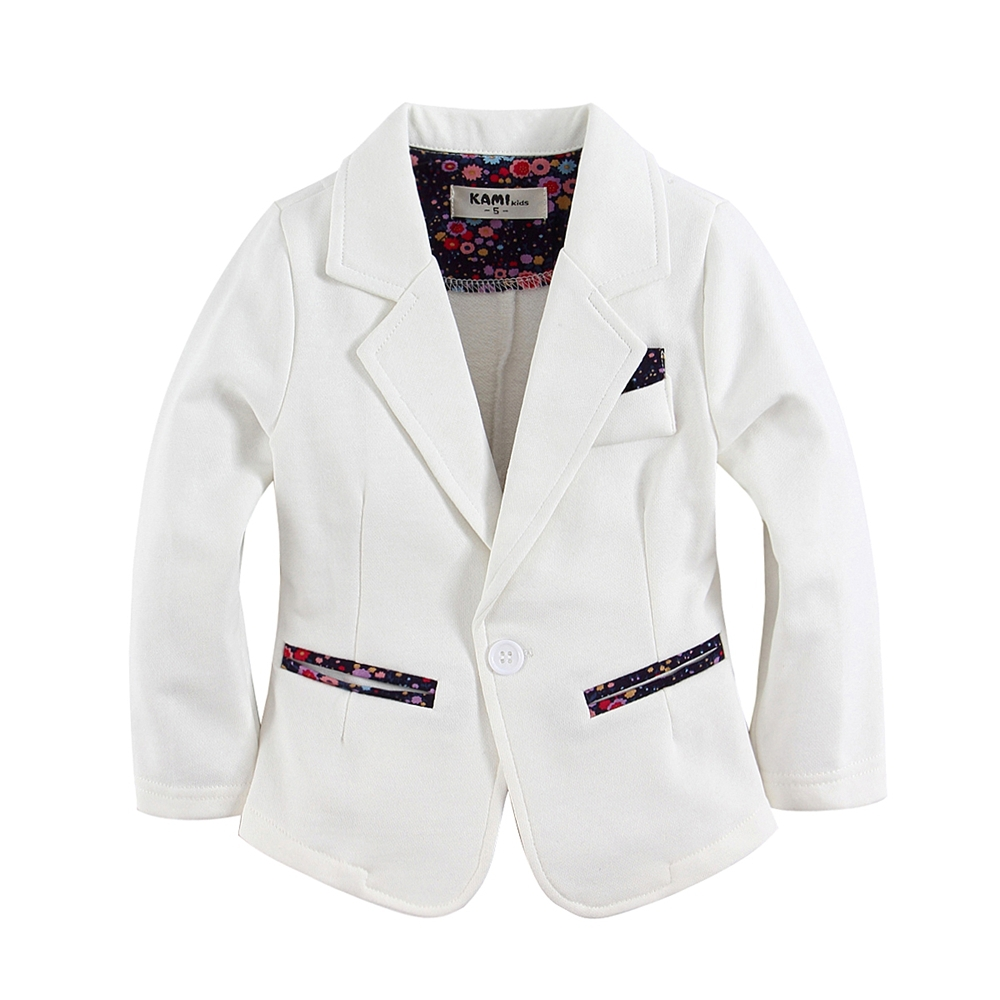 ny ankomst stickad bomull 100% toddler girl blazer solid white