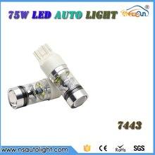 Led авто лампы T20 75 Вт высокой мощности (7443) включите свет/стоп-сигнал 12 В водить автомобиль лампы с высоким качеством