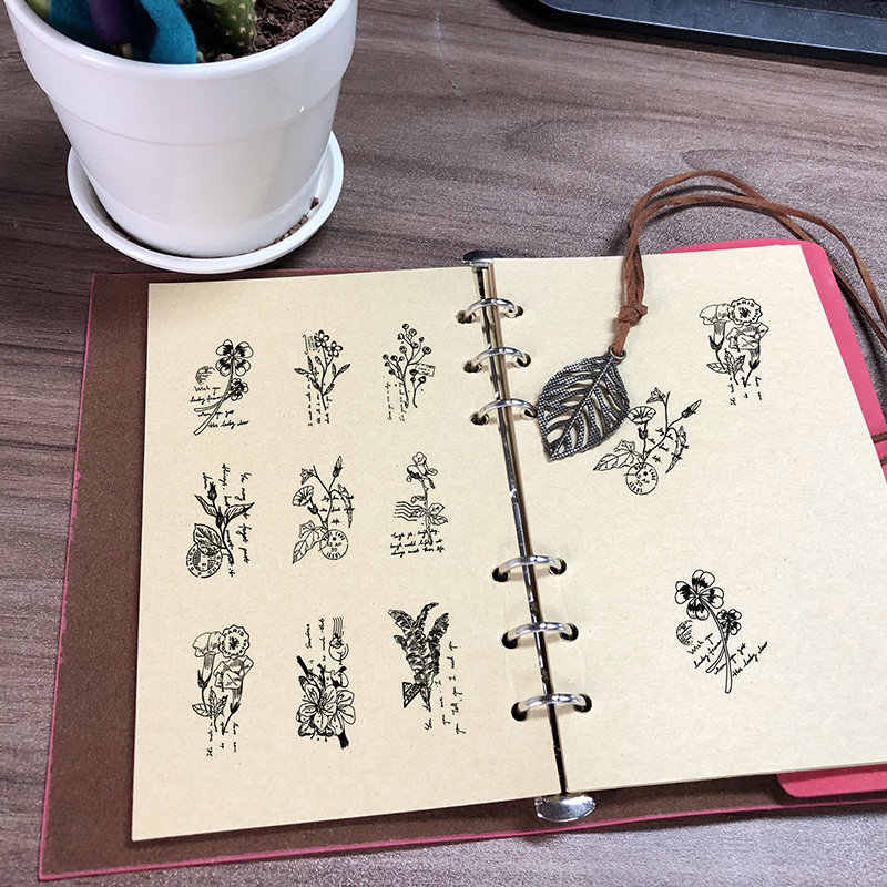 1Pcs Vintage Plant Flower Wood Stamp DIY Craft Wooden Rubber Stamps For Scrapbooking Stationery Scrapbooking Standard Stamp