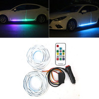 New RGB Car Flexible LED Strip Decorative Atmosphere Lamp Car Side door atmosphere light Auto Neon Light Kit with reomte control