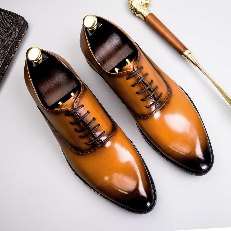 Phenkang hommes chaussures formelles en cuir véritable oxford chaussures pour hommes italien 2019 chaussures habillées chaussures de mariage lacets en cuir richelieu - 3