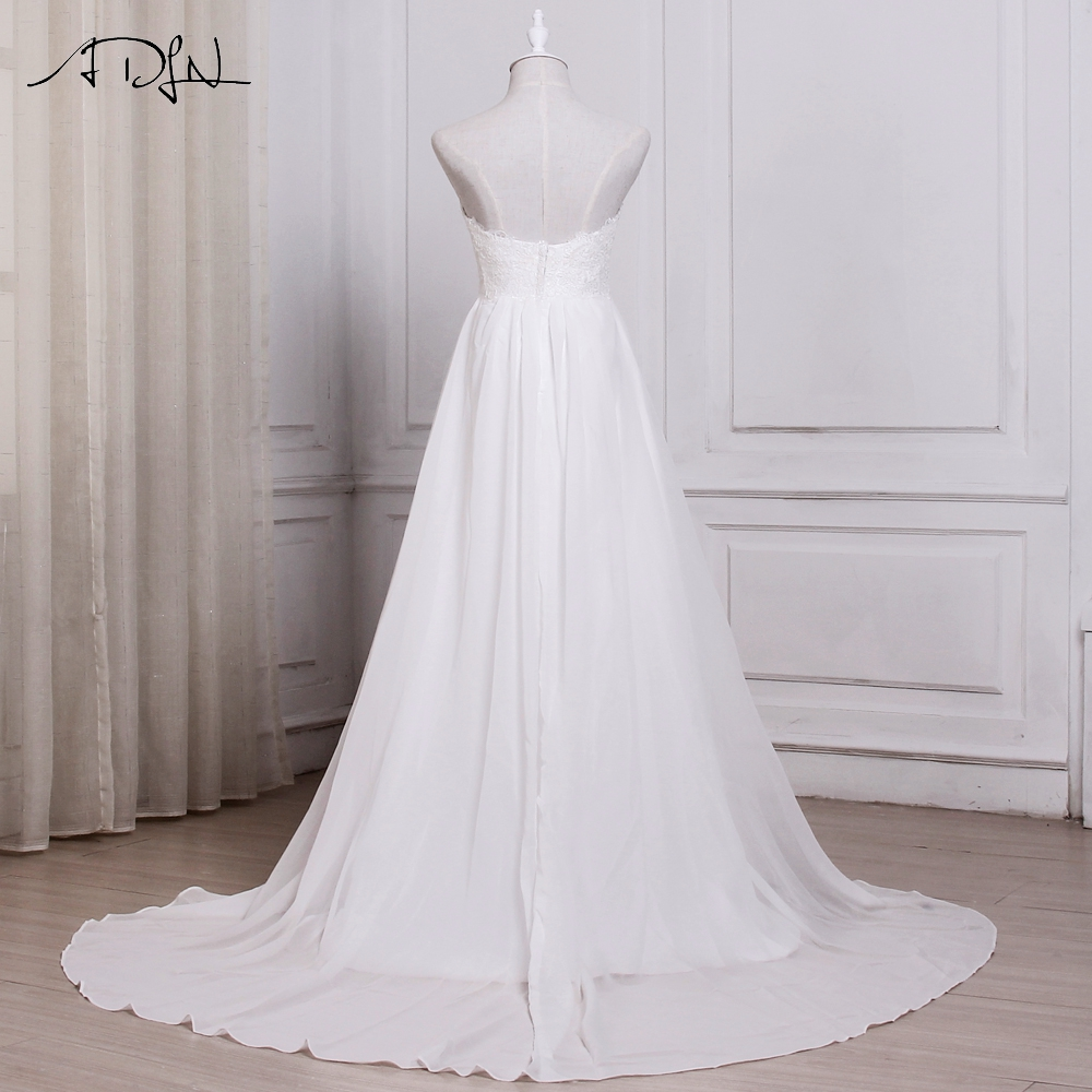 ADLN In Stock White / Ivory Chiffon Beach Wedding Dresses Vestido De Noiva Sweetheart A-line Bridal Gowns with Zipper Back 5