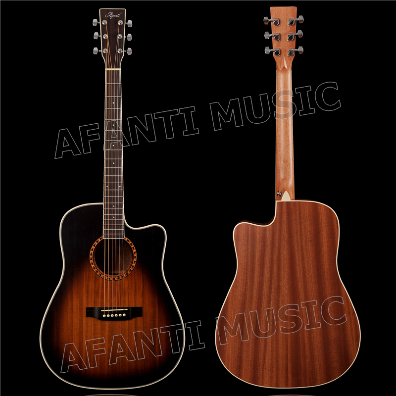 Haut Paulownia acoustique/solide de 41 pouces/dos et côtés Sapele/guitare acoustique AFANTI (AFA-907)