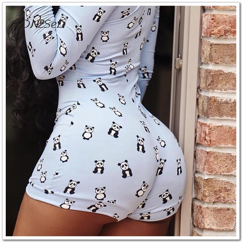 be2e30cb63ca Women Long Sleeve Casual V Neck Playsuits Panda Cartoon Print Slim ...
