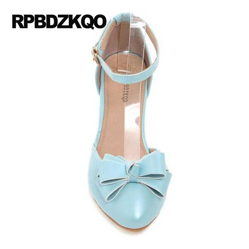 397262c69 ... High Heels Medium Pink Closed Ankle Strap Block Sandals Pumps Size 4 34 Cute  Light Blue ...