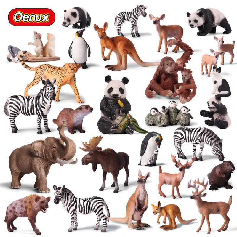 Oenux Original Simulation Animals Action Figures Lions Tigers Deer Bear Dog Animal Model Figurines Collection Toy For Kids Gift zxz 8 type amazing marine organism animals model toy classic plastic whale shark dolphin sea lions toys for boys collection gift