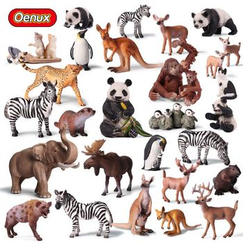 Oenux Original Simulation Animals Action Figures Lions Tigers Deer Bear Dog Animal Model Figurines Collection Toy For Kids Gift