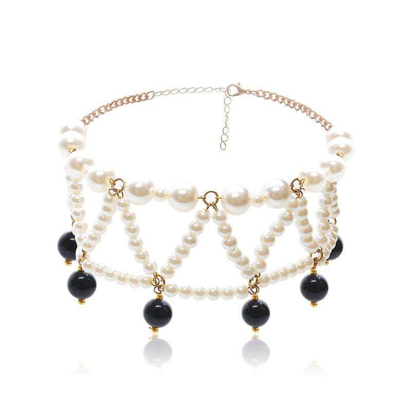 Women Choker Statement Necklace Multi Layers Simulated Pearl Fashion Jewelry Simple Vintage Collares Christmas Gifts in Choker Necklaces from Jewelry Accessories
