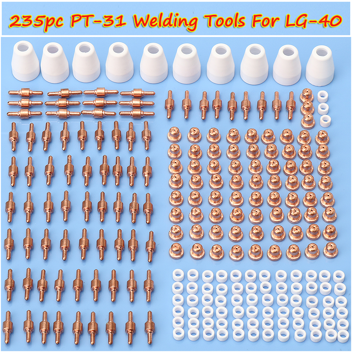 235pc Ceramic + Metal Air Plasma Cutting Cutter Consumables Extended TIP Nozzle Electrode For CUT 50D CT 312