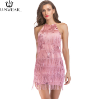 Fashin Stylish Womens Tassels Shiny Latin Halter Backless Sleeveless Short Party Evening Clubwear Short Dress Vestidos