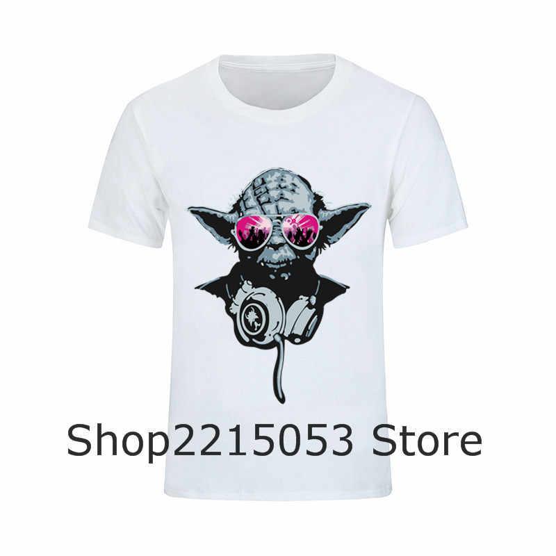 29c09ed9d ... Famous Movies Logo Design Star Wars DJ Yoda T Shirts Master Novelty  Mens Techno Headphones tshirt ...