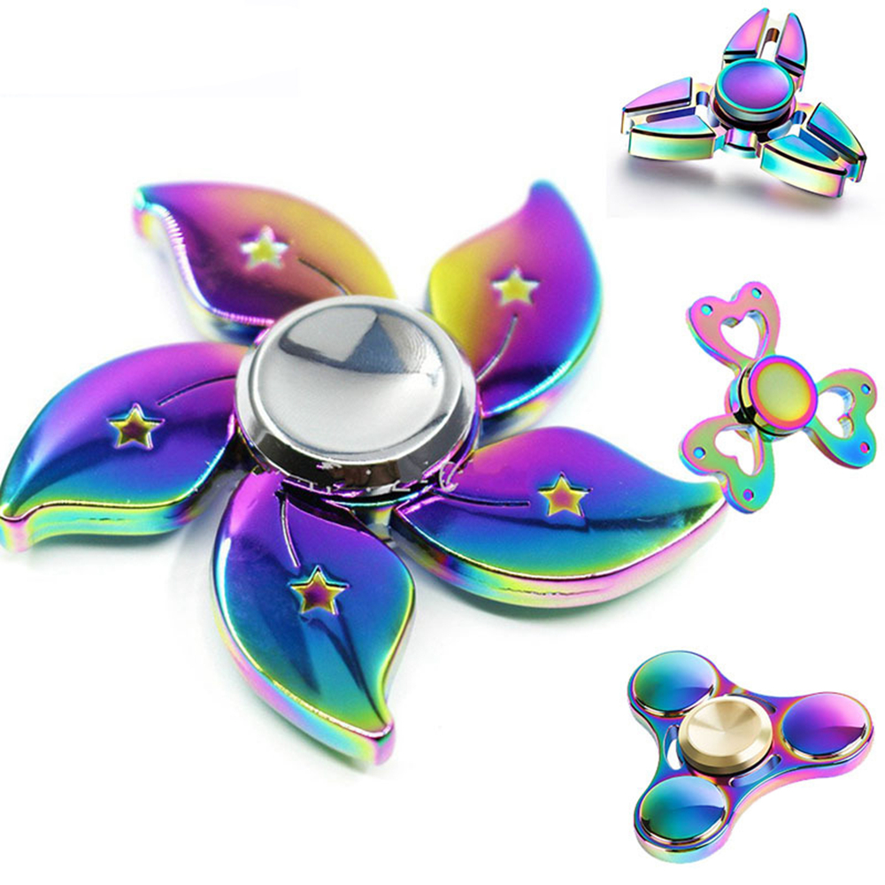 BabeLeMi Rainbow Color Zinc Alloy Metal Fidget Hand Spinner Finger Spiner Tri-Spinner Anti Stress Funny Gift Toy for Autism ADHD