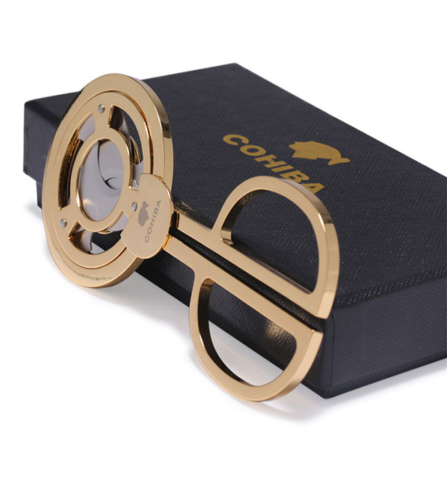 COHIBA Gadgets Edelstahl Dreifachklinge Kubanische Zigarren Scharf Schere Staright Cut Zigarrenschneider Goldene mit tasche und geschenk box