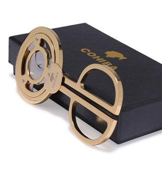 Гаджеты COHIBA, тройное лезвие из нержавеющей стали, кубинские сигары, ножницы с острым носком, резак для сигар, золотой с мешочком и подарочной коробкой